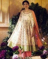 Party Wear Gota Work Kurta Palazzo Dupatta Full Stitch Dress
