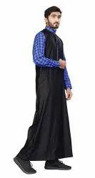 Black Color Cotton Islamic Wear Thobe
