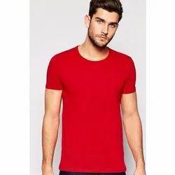 Round Half Sleeve Men's Plain T-Shirt