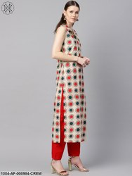 Nayo Cream Geometric Printed Straight Kurta