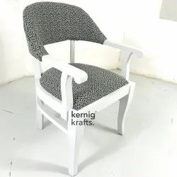 White & Grey Wooden Kernig Krafts Upholstered Indian Lounge Arm Chair, Size: 23x23x33 Cm
