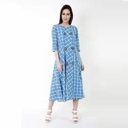 Buttoned Up Cotton Blue Midi Dress