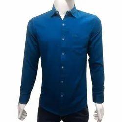 Men Cotton Plain Blue Shirt, Size: S-XXL