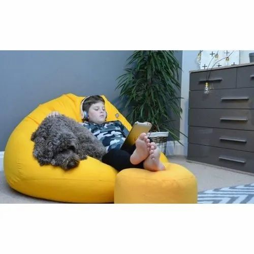 Yellow Leather Bean Bag Chair And Round Ottoman Set