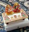 Decorative Laxmi Ganesh Marble  Gift Pair With Pata