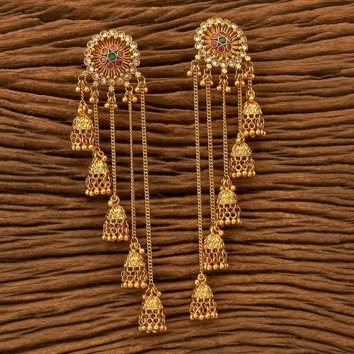 Festival Antique Long Earring With Gold