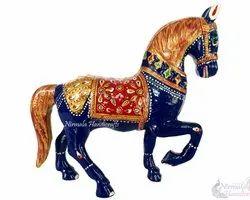 Nirmala Handicrafts Exporters Metal Meenakari Dancing Horse Statue Enamel Work Figurine