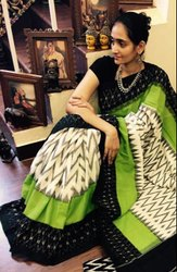 Black And Green Green and Black Ikkat Handloom Mercerized Cotton Saree, 6.5 m, With Blouse