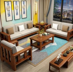 Teak Wood Sofa, For Home, Size/Dimension: Single,Double And 3+1+1