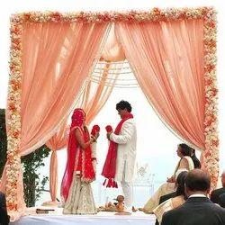 Orange flower decoration wedding, india