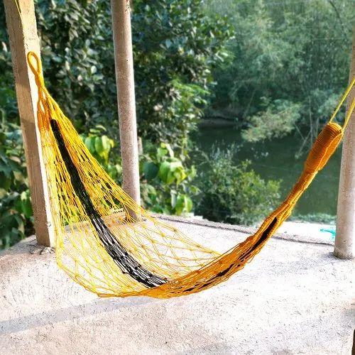 Handcrafted Nylon Rope Hammock Swing, Outdoor Bed Hammock