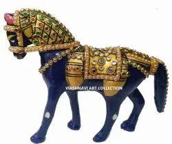 Golden Blue Menakari Work Metal Showpiece for Decor & Gift (Horse, 5-inch Height)