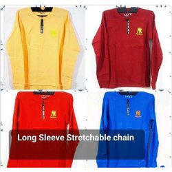 Long Sleeve Stretchable Chain Mens T Shirt