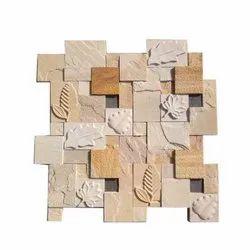 Carved Natural Stone CNC Leaf Cladding Tile, Size: 30x30 Cm