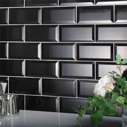 Ceramic White, Black Bevelled Tiles, Thickness: 6 - 8 mm