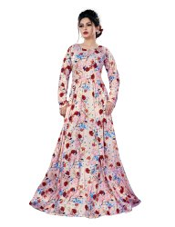 Ladies Floral Printed Jersey Stretchable Long Maxi Gown Tops