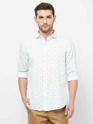 Solemio 100% Cotton Men's Full Sleeves White Smart Fit Printed Casual Shirt