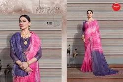 Casual Wear Linen Printed Saree, Length: 6.3 M (with Blouse Piece)