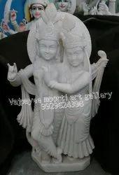 White Makrana Marble Radha Krishna Statue