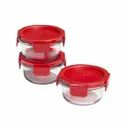 4 Lock Round Glass Containers