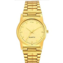 Round Analog Mens Golden Stainless Steel Wrist Watches
