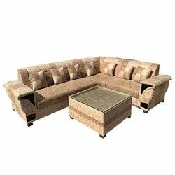 Suede Fabric Home L Shape Sofa Set