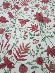 Red Floral Embroidered Curtain Fabric