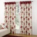 White And Red Eyelet Cotton Printed Curtain