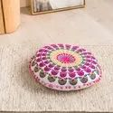 J.k. Handicraft Multicolor Wholesale High Quality Luxury Round Pillow Floor Cushion, For Home, Hotel, Size/dimension: 40 Cms