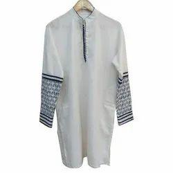 Linen Casual Wear Men White Kurta Pajama, Machine wash, Size: Medium