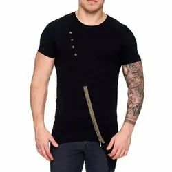Fantastica Cotton Mens Designer Black T-Shirt, Age Group: 18-34 Years