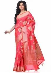 Rani Pink Silk Blend Zari Work Banarasi Saree