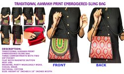 Kutchi Ajarakh Print Embroidered Sling Bag