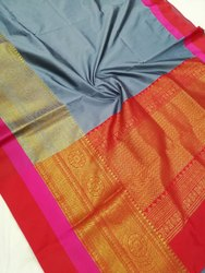 Maheshwari Blended Saree Included Blouse Satin Border With Fancy Cut Zari Wevning Pallu