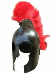 Black Mild Steel Troy Helmet With Plume