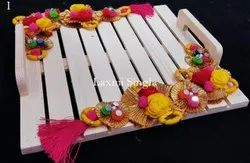 Rich Pine Platter With Floral Decoration