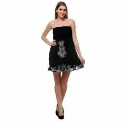 Ladies Embroidered Black Tube Dress, Packaging Type: Packet