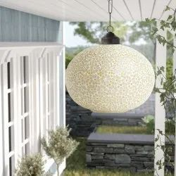 Glass 12 inch Yellow Mosaic Ceiling Hanging Lamp