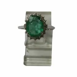 Diamond Emerald Cluster Ring