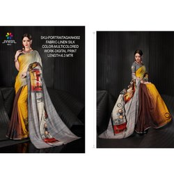 Rachna Linen Silk Digital Printed Portrait Again Catalog Saree For Women 2