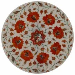 Natural Black Inlay Marble Round Table Top