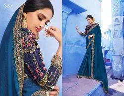 Stylish Blue Ethnic Designer Sarees