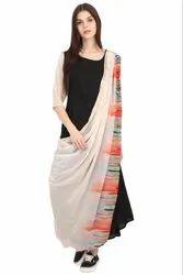 Black Rayon Drape Style Long Dress