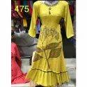 Rayon Yellow Designer Printed Anarkali Kurti, Handwash