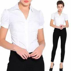 White Cotton Ladies Formal Shirt, Packaging Type: Poly Bag