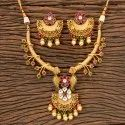 Matte Gold Plated Antique South Indian Necklace 203518