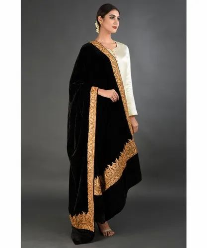 Cashmere Looms Casual Wear Black Bordered Chinar Tilla Embroidered Pashmina Size 178cm Rs 50000 Piece Id 21680460088