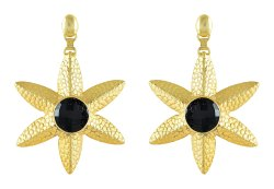Flower Design Gold Plated Black Onyx Gemstone Studs Women Earrings
