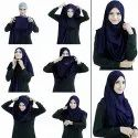 Navy Blue Color Stitched 2 Loop Instant Hijab Scarf For Women