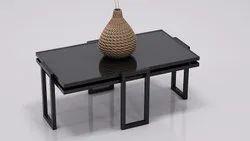 Black Rectangular Metal Center Table for Home